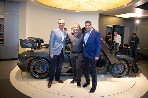 From Left to Right: Heath Strayhan, General Manager of McLaren Dallas, Josh Snowhorn- McLaren Dallas Client, Tony Joseph- President of McLaren North America